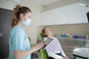 Women at dentist in clean dental office.